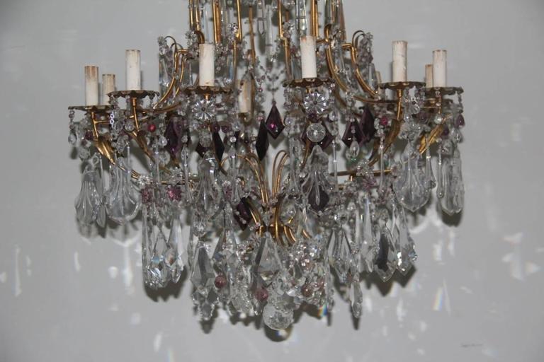 Baccarat large gilded antique crystal chandelier from France