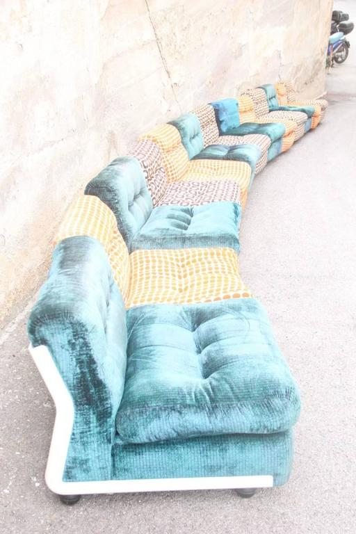 Large Sofa with 13 Armchairs B&B Italy Mario Bellini Multicolor In Good Condition For Sale In Palermo, Sicily