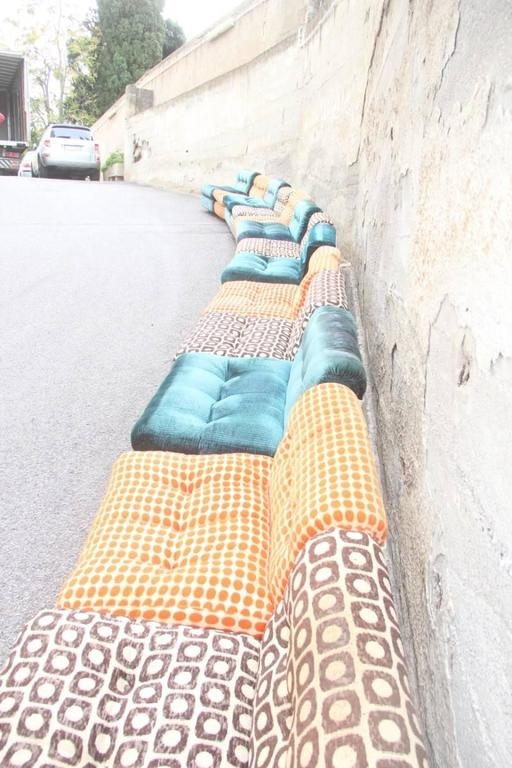 Late 20th Century Large Sofa with 13 Armchairs B&B Italy Mario Bellini Multicolor For Sale