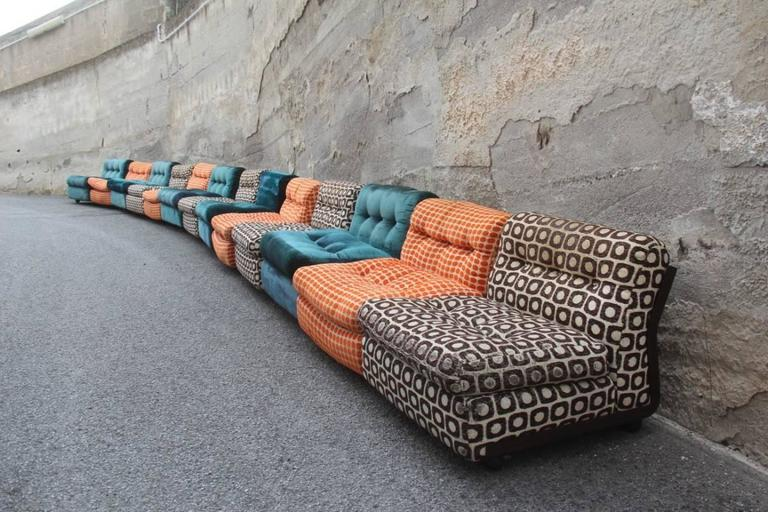 Large Sofa with 13 Armchairs B&B Italy Mario Bellini Multicolor 8