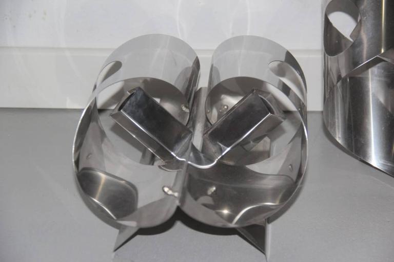 Mid-Century Modern Sculpture Steel Curved Sconces 1970s Italian Design For Sale