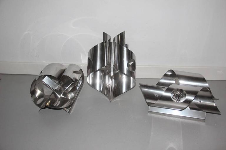 Late 20th Century Sculpture Steel Curved Sconces 1970s Italian Design For Sale