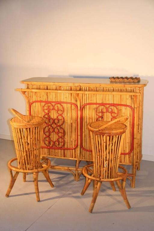 Cabinet Bar Counter Midcentury Italian Design Solid Bamboo Pair of Round Stools For Sale 2
