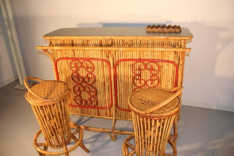 Cabinet Bar Counter Midcentury Italian Design Solid Bamboo Pair of Round Stools For Sale 4