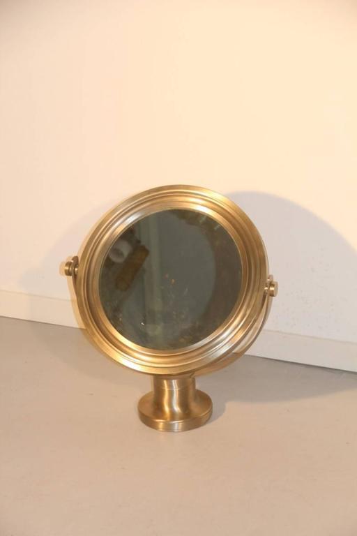 Italian Swivel Mirror Brushed Metal Artemide Sergio Mazza, 1960s For Sale