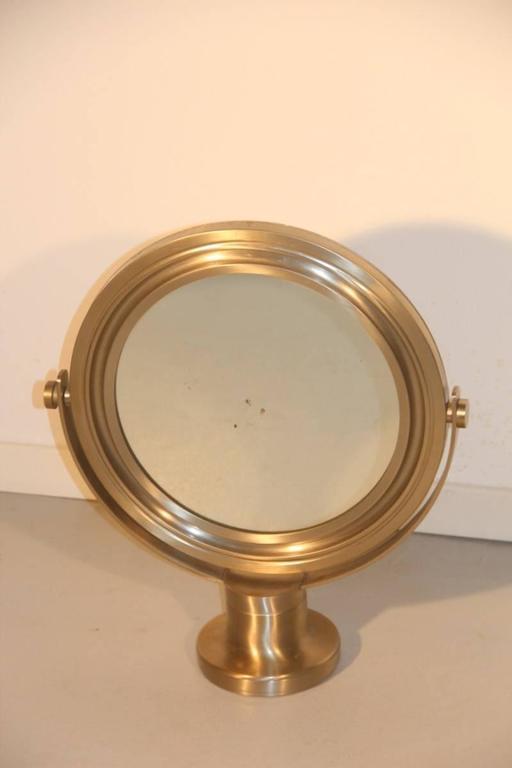 Swivel Mirror Brushed Metal Artemide Sergio Mazza, 1960s In Good Condition For Sale In Palermo, Sicily