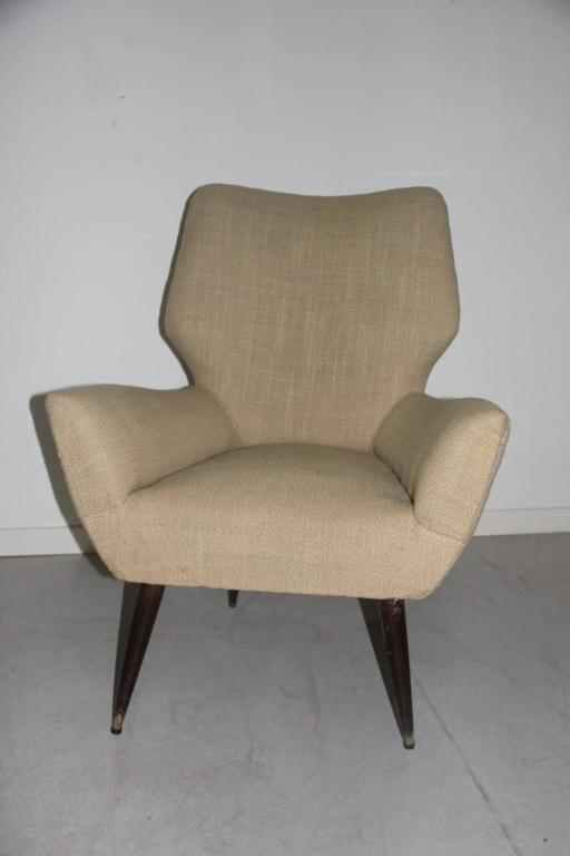 Original Italian Mid-Century Armchair, 1950s In Good Condition For Sale In Palermo, Sicily
