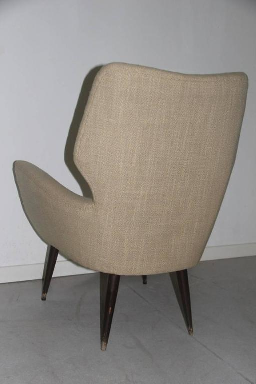 Fabric Original Italian Mid-Century Armchair, 1950s For Sale