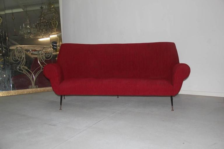 Mid-20th Century Mid-Century Modern Curved Sofa Minotti Gigi Radice Italian Design Red Color  For Sale