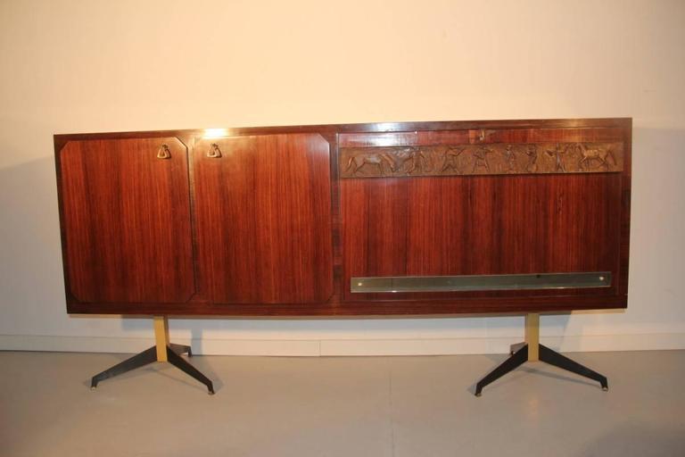 Metal Elegant Sideboard Italian Mid-Century Design For Sale