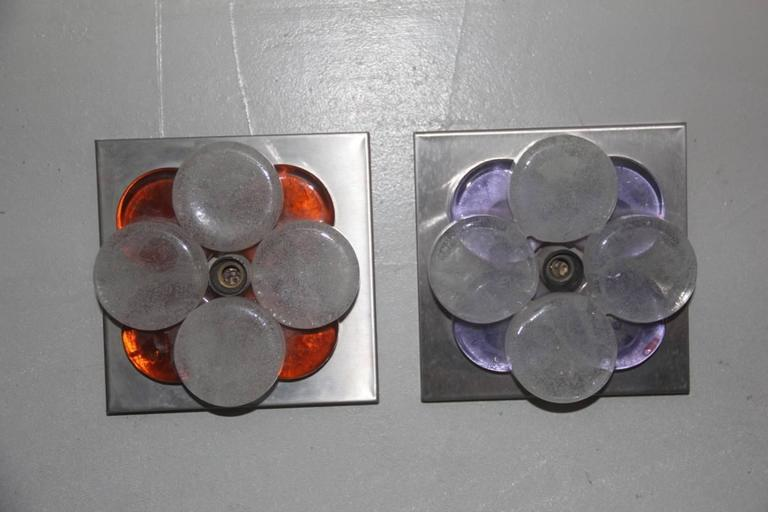 Late 20th Century Pair of Different Color Poliarte Albano Poli Wall Sconces 1970 Pop Art  For Sale