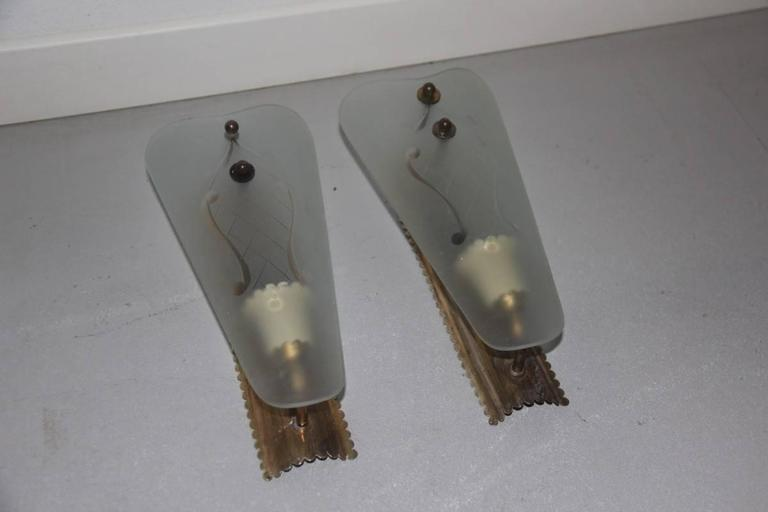 Mid-Century Modern Pair of Wall Sconces Mid-Century Italian Sconces For Sale
