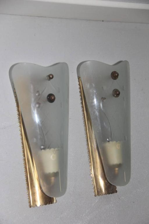 Mid-20th Century Pair of Wall Sconces Mid-Century Italian Sconces For Sale