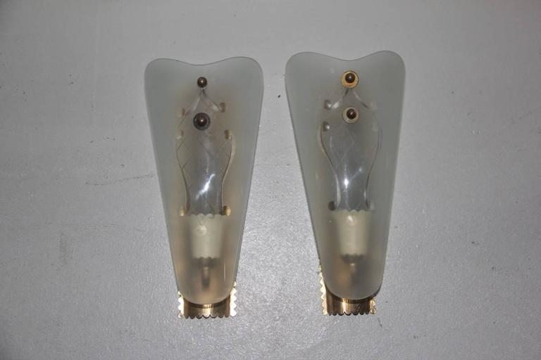 Brass Pair of Wall Sconces Mid-Century Italian Sconces For Sale