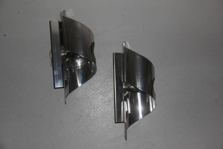 Pop art curved steel wall sconces, 1970s.