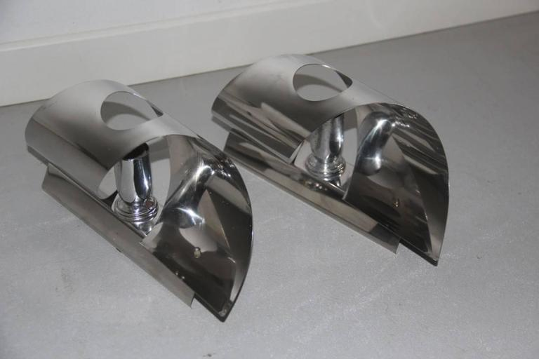 Mid-Century Modern Pop Art Curved Steel Wall Sconces, 1970s For Sale