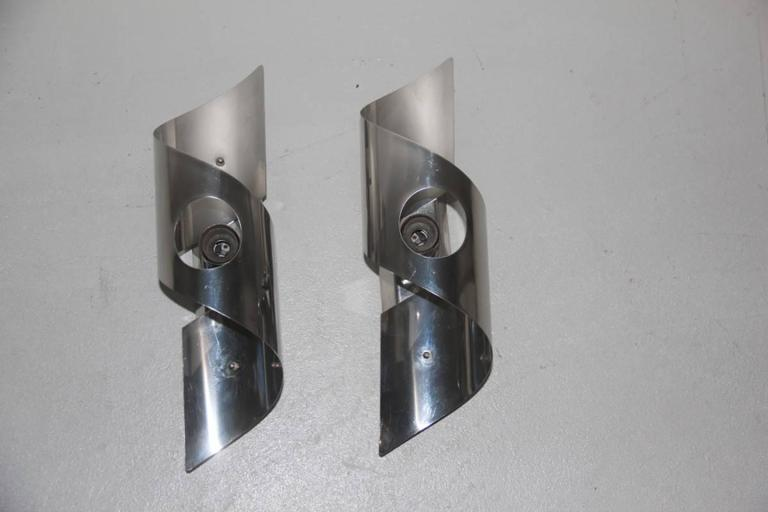 Italian Pop Art Curved Steel Wall Sconces, 1970s For Sale