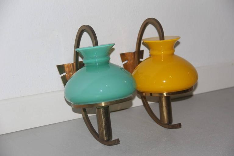 Mid-20th Century Particular Wall Sconces Different Color Italian Design, 1950s For Sale