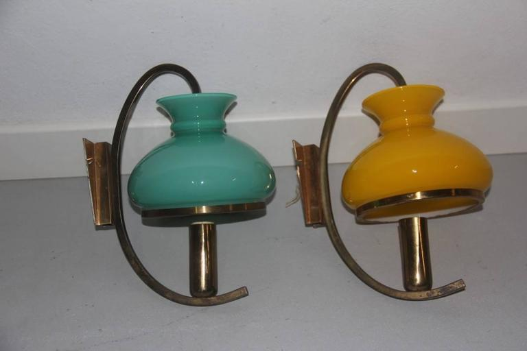 Mid-Century Modern Particular Wall Sconces Different Color Italian Design, 1950s For Sale