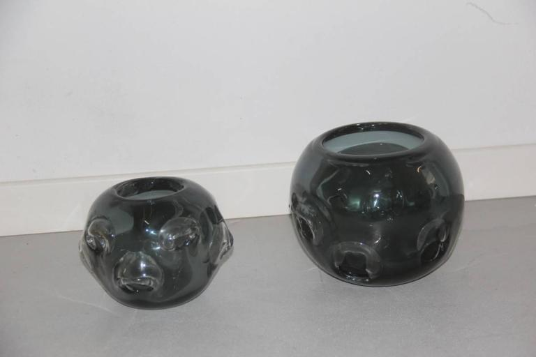 Vases Murano glass 1960 ashlar massive, particular machining with bubbles, attributed the manufacture of Seguso, 1960. Measures: Great height cm.16.5 diameter 19 cm, small diameter cm 13 height cm 17.