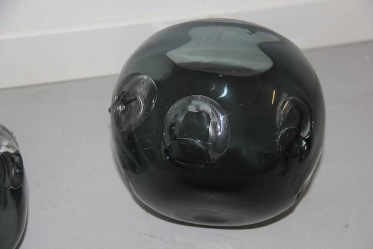 Mid-Century Modern Vases Murano Glass 1960 Ashlar Massive Seguso Attributed For Sale