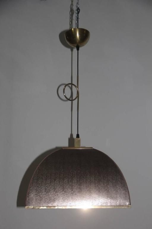 Cascading Chandelier with Fake Lizard and Brass Dome Italian design 1970 For Sale 1