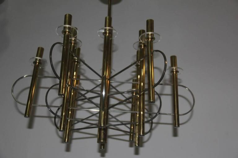 Mid-Century Modern Sculptural Sciolari Chandelier Italian, Design 1970 For Sale