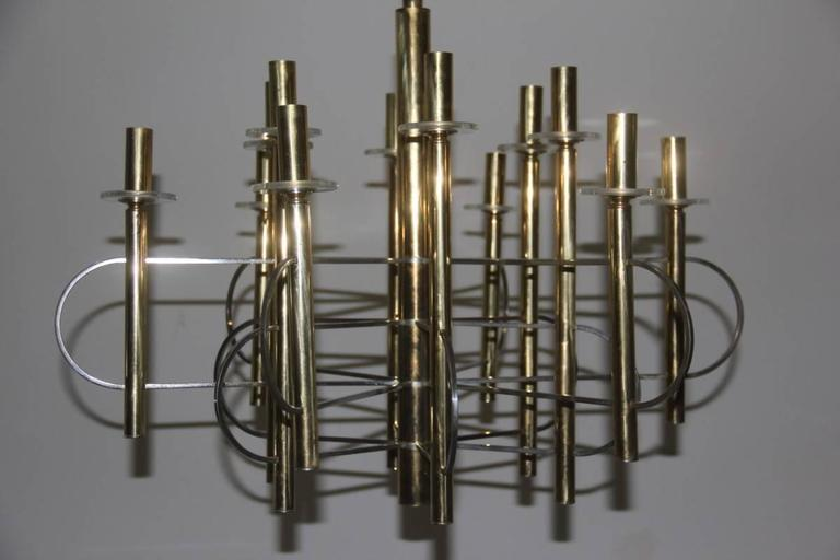 Late 20th Century Sculptural Sciolari Chandelier Italian, Design 1970 For Sale