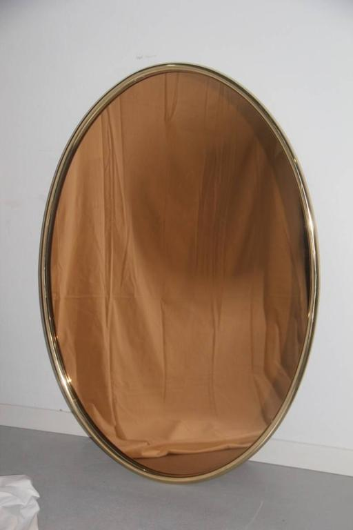 Large Mirror Oval Brass And Antique Pink For Sale At 1stdibs