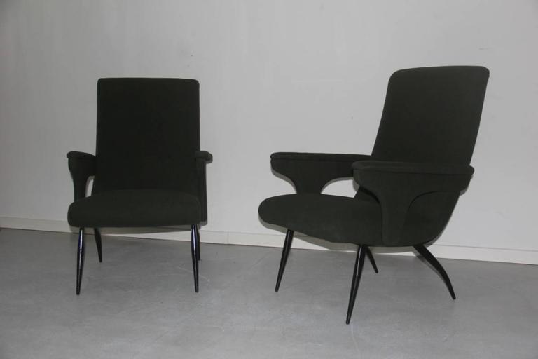 Pair of armchairs Minotti Gigi Radice, 1950, Italian original design and form.