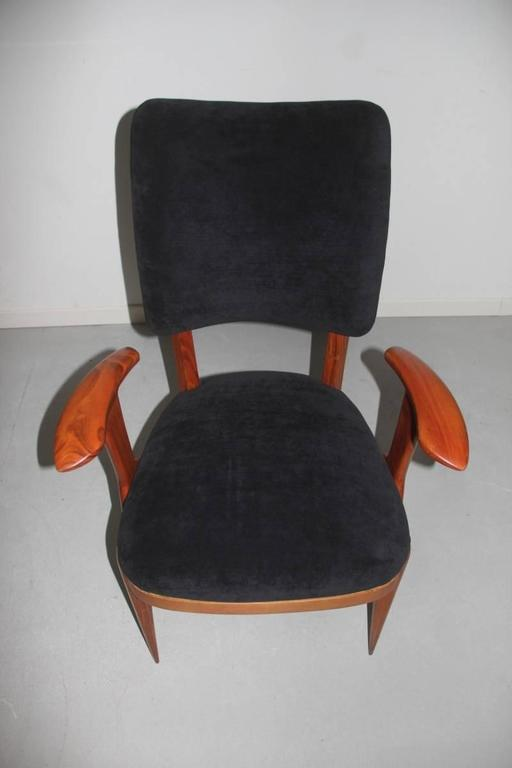 Presidential Armchair Cherry 1950s Italian Design Melchiorre Bega Style  In Excellent Condition For Sale In Palermo, Sicily