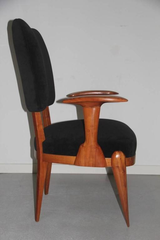 Mid-20th Century Presidential Armchair Cherry 1950s Italian Design Melchiorre Bega Style  For Sale