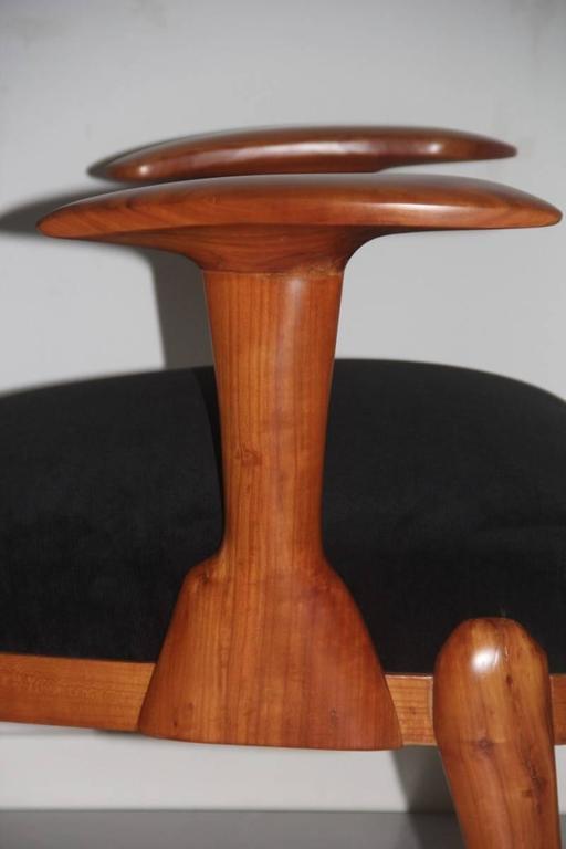 Velvet Presidential Armchair Cherry 1950s Italian Design Melchiorre Bega Style  For Sale