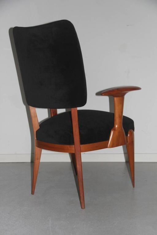 Presidential Armchair Cherry 1950s Italian Design Melchiorre Bega Style  For Sale 4