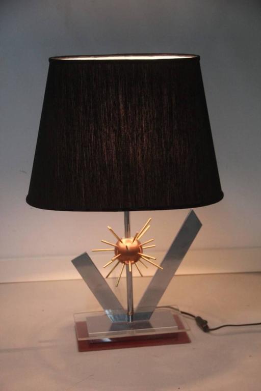 Late 20th Century Sputnik Sculptural Table Lamp, 1970s Copper steel brass and plexiglass Italian For Sale