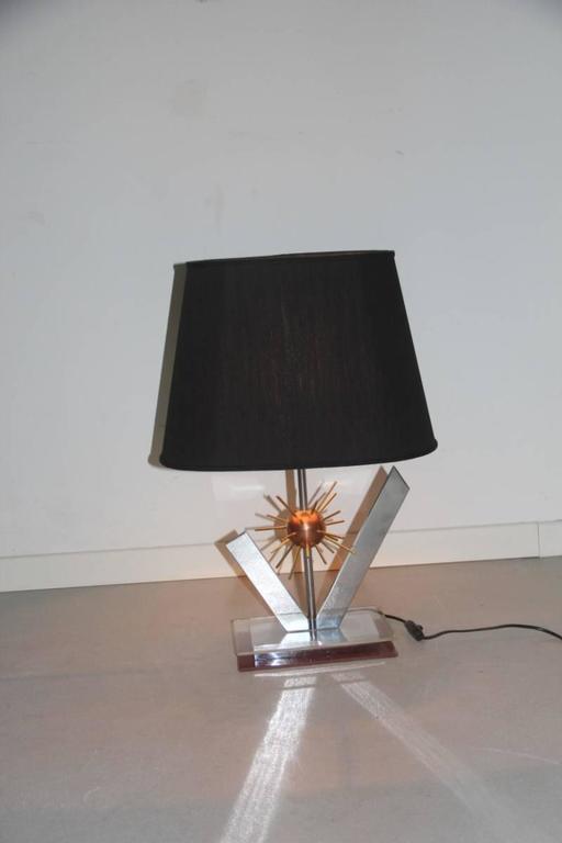 Metal Sputnik Sculptural Table Lamp, 1970s Copper steel brass and plexiglass Italian For Sale