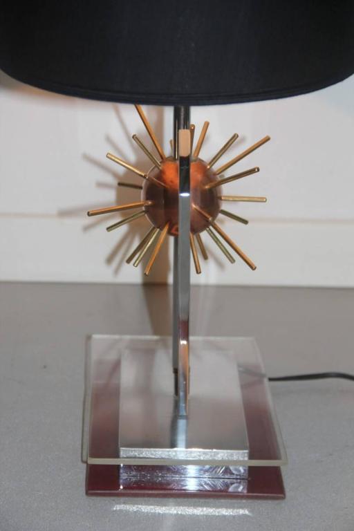Sputnik Sculptural Table Lamp, 1970s Copper steel brass and plexiglass Italian For Sale 2