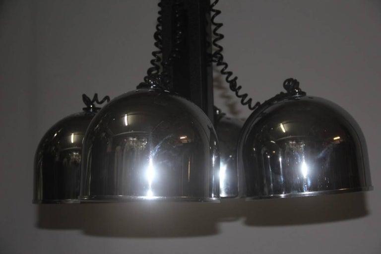 Particular ceiling lamp Stilnovo attributed Italian design. Chromed metal caps, lacquered metal frame, mounts four E27 bulbs.