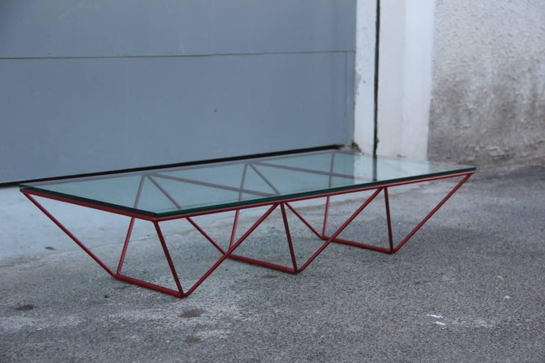 Metal Table Coffee Paolo Piva for B&B Italia Red Color Rare For Sale