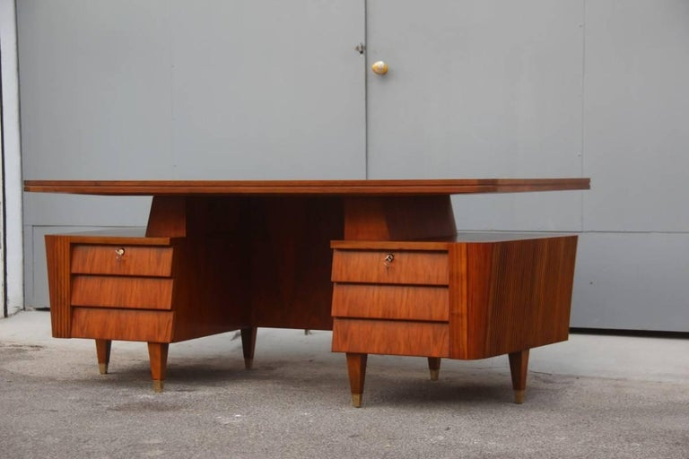 Mid-Century Modern Italian Midcentury Design Desk Original Walnut 1950 Minimal  For Sale