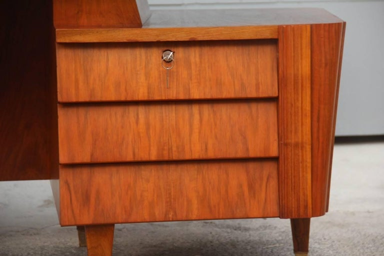 Mid-20th Century Italian Midcentury Design Desk Original Walnut 1950 Minimal  For Sale