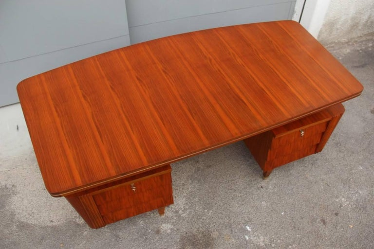 Brass Italian Midcentury Design Desk Original Walnut 1950 Minimal  For Sale