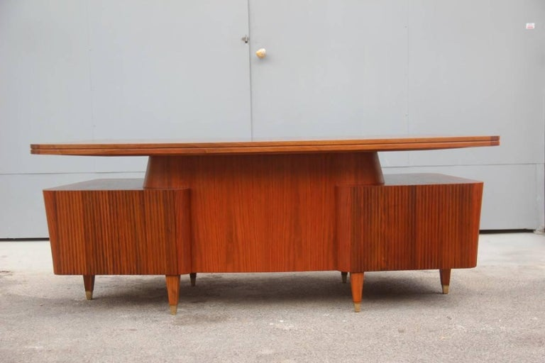 Italian Midcentury Design Desk Original Walnut 1950 Minimal  For Sale 3