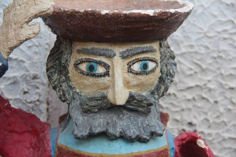 Large sculpture Desimone 1960 very special and rare, fisherman. Made in clay ground, paperwork pieces and decorated with cold colors, very particular and rare in its kind.