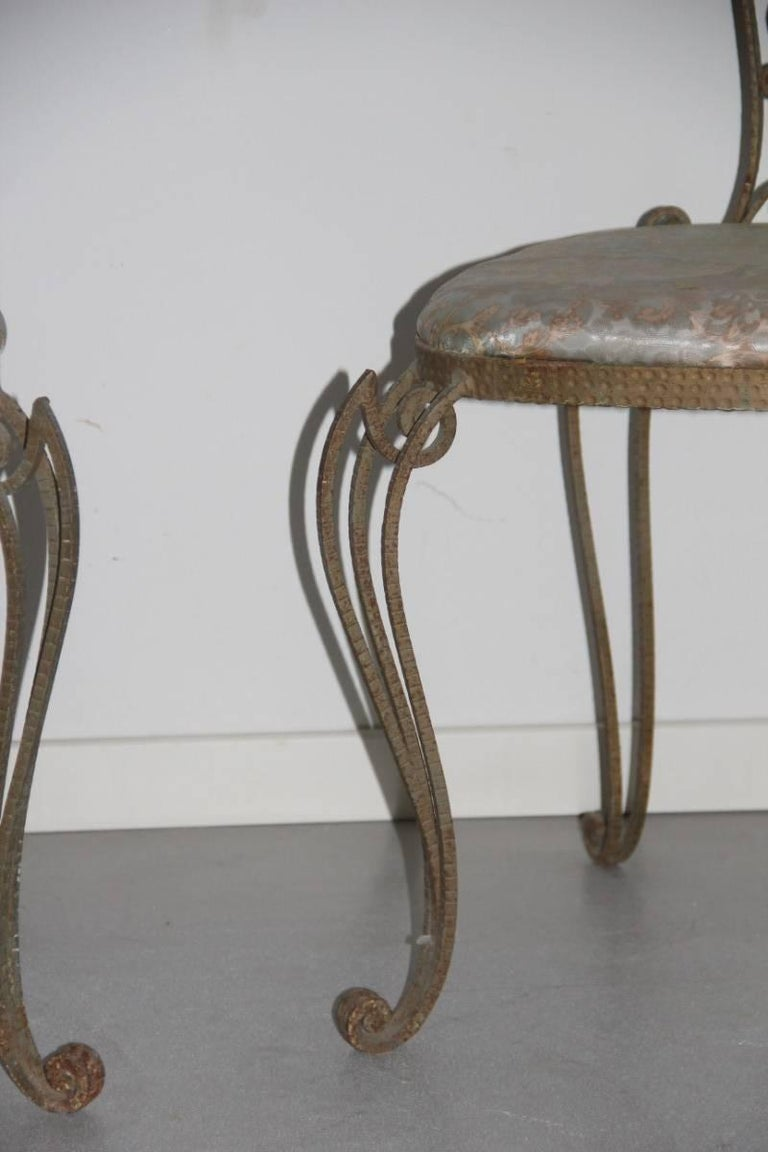 Mid-Century Modern Pair of High Backrest Metal Chairs by Pier Luigi Colli For Sale