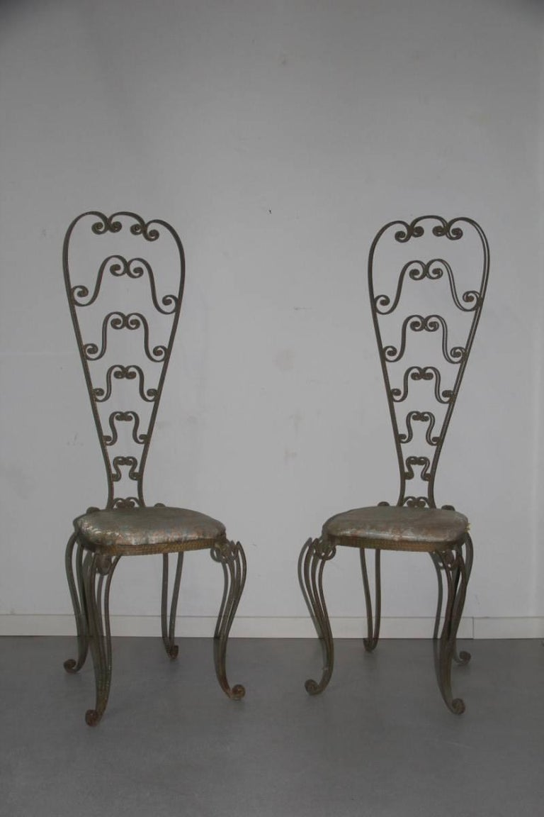 Italian Pair of High Backrest Metal Chairs by Pier Luigi Colli For Sale