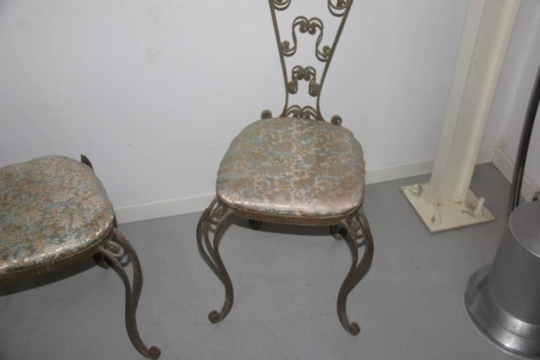 Pair of High Backrest Metal Chairs by Pier Luigi Colli In Good Condition For Sale In Palermo, Sicily