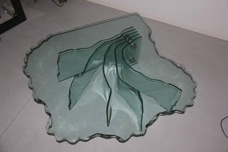 Art Glass Danny Lane Table Coffee Crystall  Fiamm , 1980  Shell Italian Design  For Sale