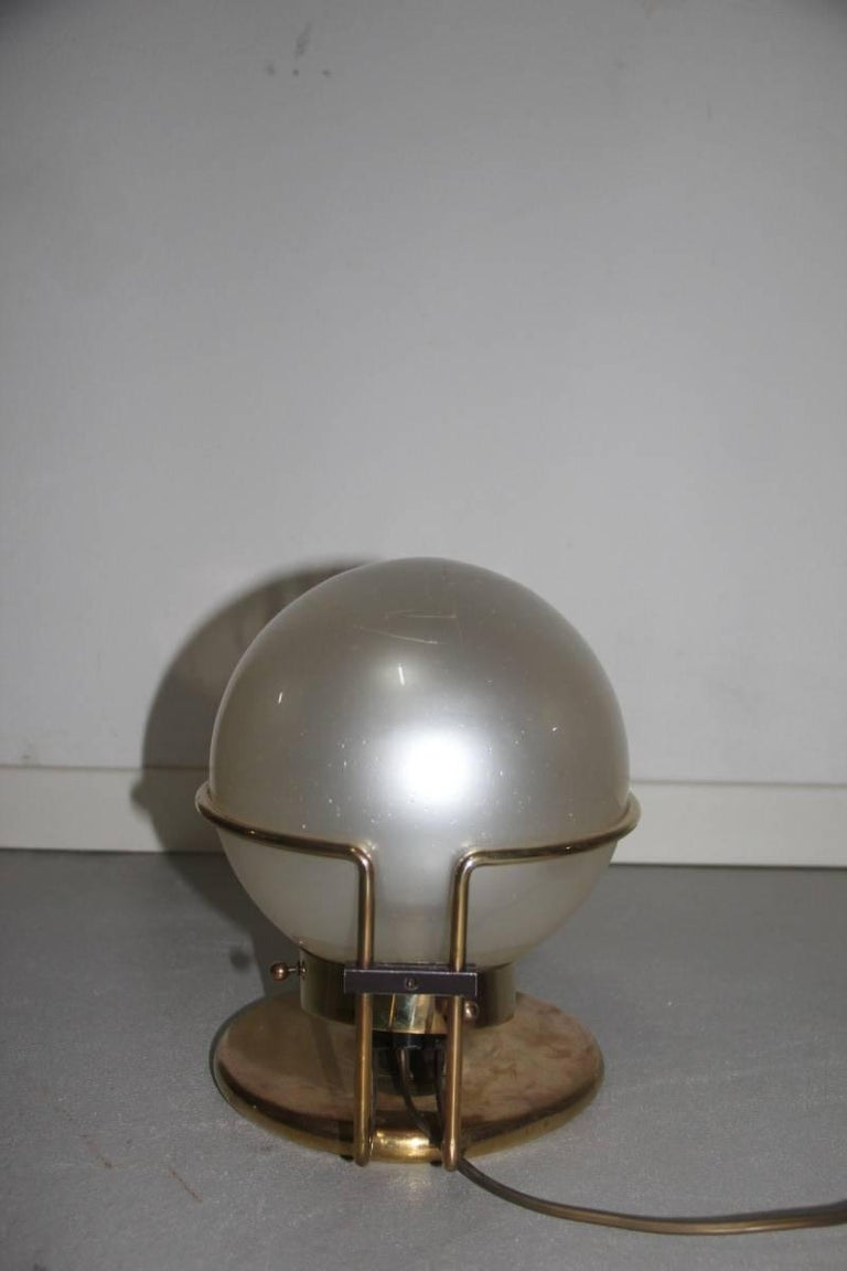 Italian Table Lamp Brass and Glass Valenti Design 1970 For Sale 1