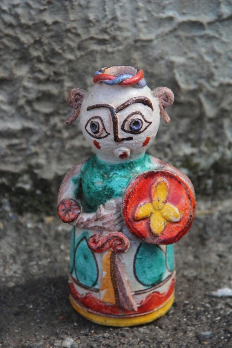 Mid-Century Modern De Simone Ceramic Italian Art Sculpture Sicilian Warrior Multi-Color Midcentury For Sale